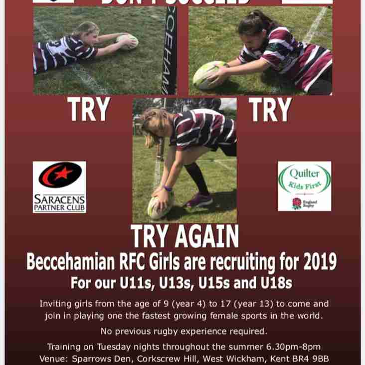 Beccehamian Girls Rugby are continuing to recruit - Training Tuesday 2, 9 & 16 July 2019