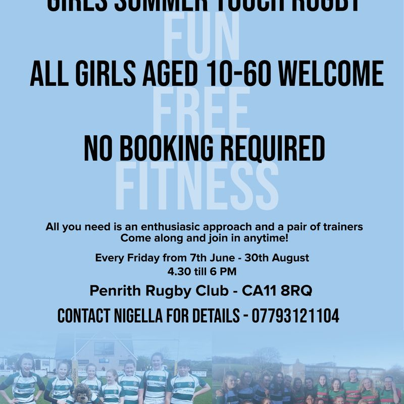 Girls Summer Touch Rugby - Every Friday from 7th June - 4.30 till 6pm.