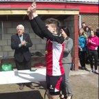 Bobby HardingU15s Captain receives Staffordshire Plate 2013