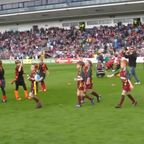 U8's on the pitch at Half-time. Worcester V Bristol