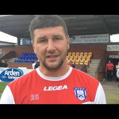 Stratford boss Tommy Wright talks after an excellent 2-1 win against League 2 side Cheltenham Town